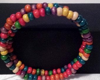 multi colored memory wire bracelet