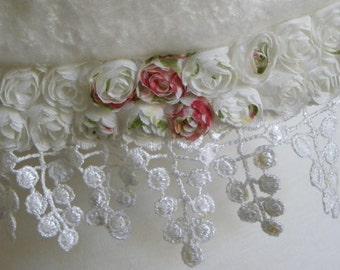 White Silk Velvet Scarf, Cream Shabby Chic Crushed Velvet Scarf, Silk Scarf, Hand Made Long Velvet Winter Lace Rose Bud Scarf