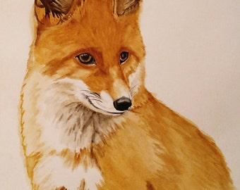 Red fox Original watercolor Painting , Nursery Wall Art, Woodland Fox decor, fox artwork
