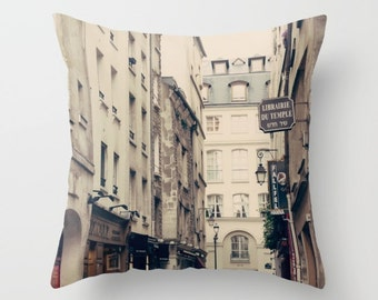 SALE, Paris pillow, Pillow cover, Paris decor, french pillow, couch pillow, french decor, ivory pillow, neutral french decor, Marais pillows