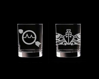 Navy ESWS Set of 2 Scotch Whiskey Glasses rating badge petty officer senior chief master chief cpo retirement retirement usn