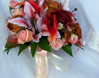 Brides Round Wedding Bouquet Set in Pink , Orange, and Ivory  Lily and Roses and Ivory 14 Piece