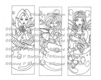 IMG050 Fairy Bookmarks Instant Download Coloring Color Your Own digital stamp page