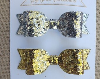 Silver and Gold Glitter Hair Bows, Set of 2, Gold Hair Bow, Silver Hair Bow, Gold Glitter Bow, Glitter Hairbows, Silver Glitter Bow