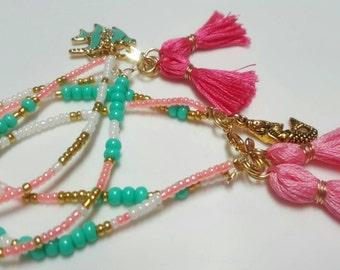 Mermaid beaded stackable bracelet