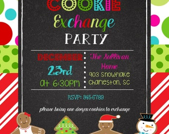 12   Christmas  Holiday Cookie Exchange Party Invitations with envelopes - cookie exchange or cookie decorating