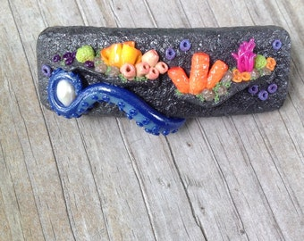 Coral Barrette with Blue Tentacle