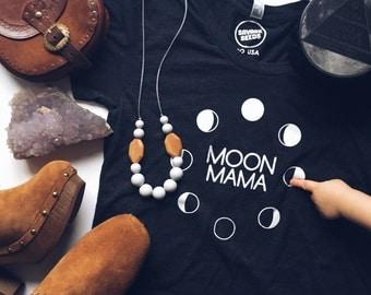 MOON MAMA - Black or Indigo Tee Shirt - Womens T- Shirt - Vintage feel cotton - Modern Motherhood - Mom Life - Moon Phases - Full Moon