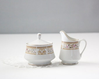 Wallace Heritage Daphne Pattern Sugar Bowl & Creamer Set