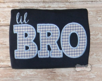 Lil Bro Embroidered Shirt or Bodysuit in Navy Blue & Light Blue