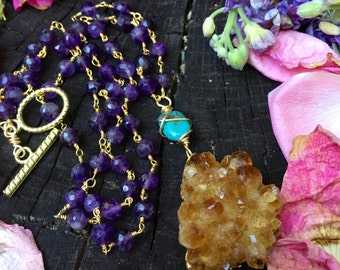 OOAK Gold amethyst Citrine - 14k gold filled necklace with turquoise & amethyst