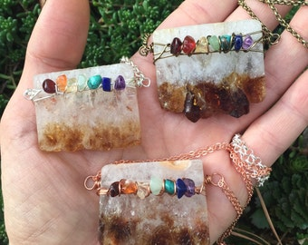 CHAKRA Citrine Slice necklace - wire wrapped - garnet carnelian golden amethyst aventurine turquoise lapis amethyst - original design