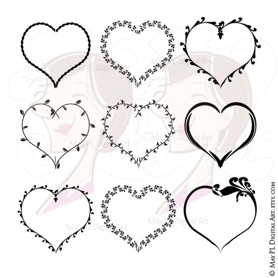 Heart Frames Clipart Commercial Use Digital Love Frame VECTOR Clip Art Label Tag Card Making Scrapbook Supply Valentine Mothers Day 10081