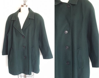 Wool Plus Size Swing Coat • Forest Green  • Made in USA  • Size 24W