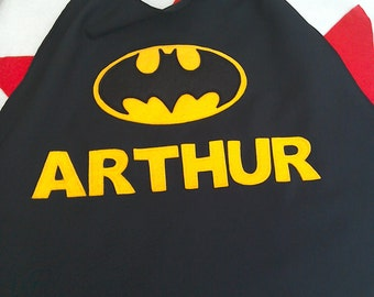Personalised Batman cape with name for children. Costume, fancy dress, Halloween, superhero cape. Great birthday present for girls or boys.
