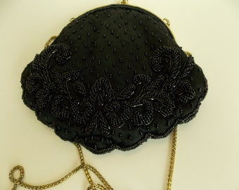 Beaded Clutch Evening Bag with Long Strap Black NEW!