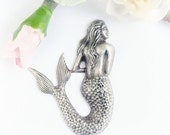Large Mermaid Stamping Oxidized Silver 53mmX 38mm (1)