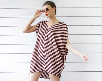 Vintage pink brown chevron striped slouchy wide sleeveless beach tunic dress top