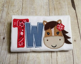 Horse Two - 2nd Birthday - Made to Order - Red Bandana Pony, Farm Second Appliqué Shirt - Multiple Sizes, Onesie Bodysuit