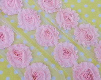 1 Yard Blush Pink Shabby Chiffon Flowers beautiful rosettes wholesale baby headband supply light pink wedding