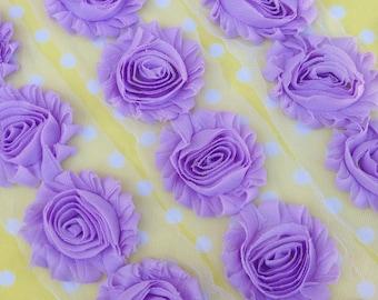 "1 Yard Lavender Purple Shabby Chiffon Flowers 2.5"" rose trim DIY baby headbands clips embellishments craft light lilac girl wedding"