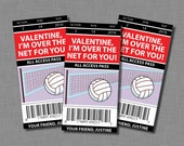Volleyball Valentine Cards sports Printable Customized Classroom PDF