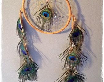 "STUNNING 7 Peacock Feathers Natural 6"" Aquamarine Crystal Quartz / Boho OOAK Dreamcatcher"