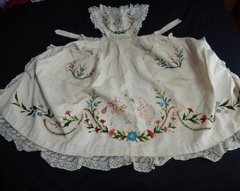 Antique embroidered pinafore apron ladies tennis memorabilia Kate Greenaway children collectible linen lace apron  pinny 1890's