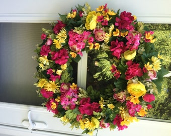 Hot Pink Geranium & Camellia with Yellow Ranunculus Wreath