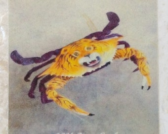 L.S.U. Tiger Crab OOAK New Orleans and Baton Rouge Coaster