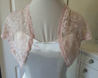 Blush Lace Bridal/prom/evening  Shrug/bolero/jacket from stretch lace Style 207 Size small to plus sizes.