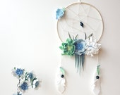 Dream catcher mobile, mobile dreamcatcher, nursery wall art, Above bed decor, baby mobile, dream big little one, felt flower mobile,