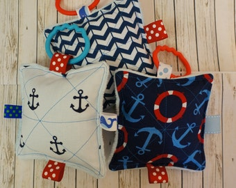Baby Nautical toys, 3  Nautical Theme Crinkle toys, fun to squeeze, explore, sounds,  teething link included, 5 inch.  Babies love these.