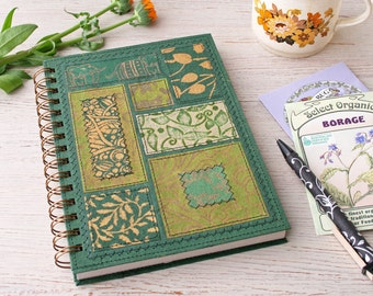 Blank Recycled Notebook A5 green / unlined notebook / green journal / garden journal / travel journal / sketchbook / botanical notebook