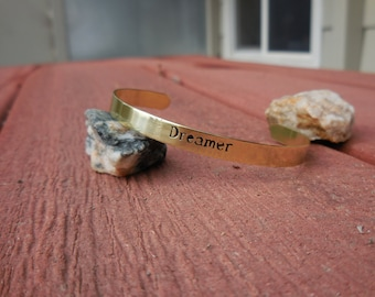 Brass cuff bracelet etched with the word - Dreamer