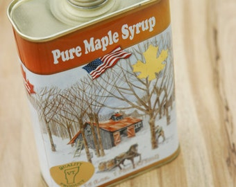 Vintage VERMONT Maple Syrup Tin Can Very Unique Looking Graphics, Maple Sugar Collector, Sugarhouse Decor