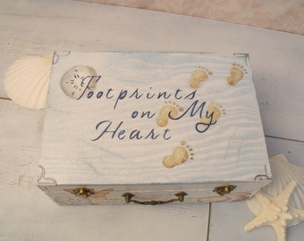Shabby Chic Memory Box, Keepsake Box, Beach Cottage, Personalized Footprints on My Heart Retirement  MHB