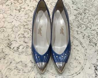 1980s Chimo Barcelo Pumps.  RARE Royal Blue with Silver Metal Detail.