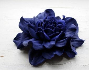 Cobalt Blue Leather Rose Flower Brooch