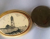 Brooch Vintage Lighthouse Scrimshaw Design Barlow Signed GP Roll Pin Back Beautiful Weight Seagulls House Cliff Ship Scene