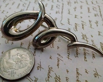 Brooch Vintage Squiggle Abstract Sterling Silver 925 Signed Big Bold Statement.