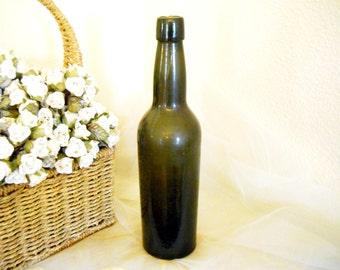 Antique 1890s Rare Olive Green Glass Bottle Vintage French Country Farmhouse Apothecary Drugstore Rustic Primitive Autumn Vase Porch Decor