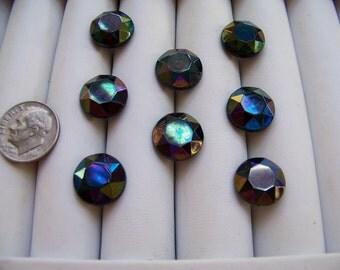Set of 8 Vintage Faceted Black Glass Luster Shank Buttons