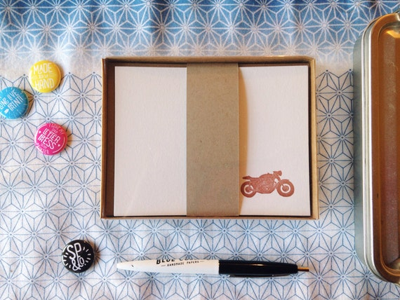 Classic Motorcycles Stationery Set / Letterpress A2 Flat Notes Boxed Set of 6 with Kraft Envelopes