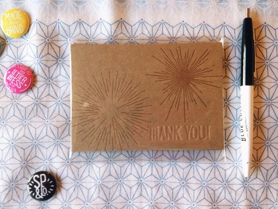Thank You Flat Card / 2-pack of Mini Chipboard Letterpress Printed Thank You Flat Card