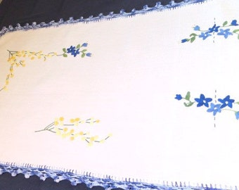 French vintage antique linen table runner  hand embroidery made in France. folk art 48 inches X 16 inches french country style Shabby chic