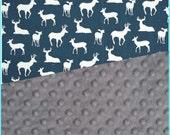 Baby Blanket Premium Duck Navy Deer Minky Blanket Carseat Blanket Crib Blanket Stroller Blanket