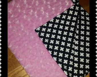 Baby Blanket Black Plus blanket Cross Baby Blanket Minky stroller blanket carseat blanket Ready to Ship