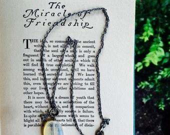 Simple boho necklace with lemon quartz dangle