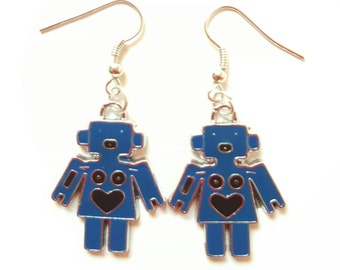 Robot Earrings. Enamel. Blue